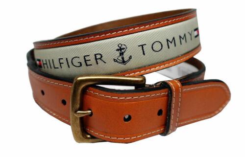 Tommy Hilfiger Men/'s Premium Ribbon Inlay Anchor Logo Leather Belt 11TL02X032