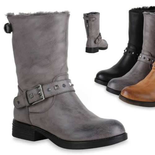 Damen Stiefeletten Biker Boots Schuhe Stiefel Nieten Schnallen 819827 Trendy