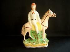 Reproduction Staffordshire-Style Flatback Man On Horse Figurine