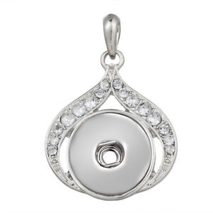 Hot Women Crystal Jewelry Necklace Pendant Fit 18mm Noosa Snap Button N118