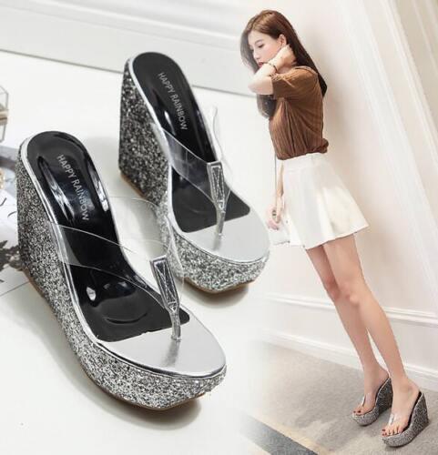 Womens Glitter Summer Beach Slipper Opentoe Sequins High Wedge Platform Sandals