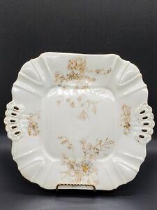 Antique Leonard VIENNA Austria Porcelain Reticulated Gold Flowers and trim