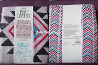 Primark Handpainted Geo Print Duvet Cover Set Mexican Aztec King Size Bn