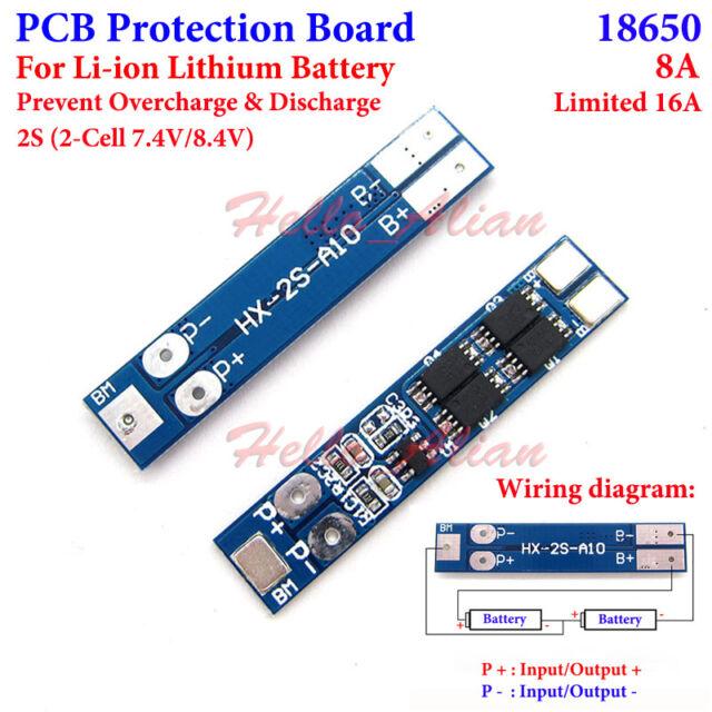Lipo Battery BMS Protection PCB Board 2S 8A Cell 7.4V 8.4V Li-ion 18650 Lithium