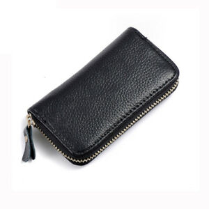 Key-Men-039-s-Women-039-s-Genuine-Cow-Leather-Holder-Coin-Purse-Chain-Ring-Wallets-Bag
