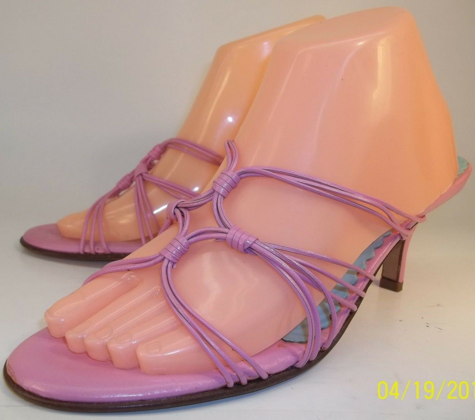 Lilly Pulitzer Womens US10M Pink Strappy Leather Slip-On Heels Shoes Sandals NEW