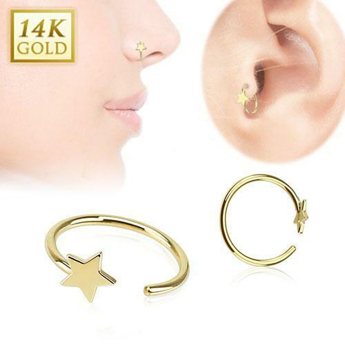 14kt Solid Yellow Gold Nose Ring Hoop 5 16 7 9mm 2 5 Star 22