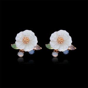 10mm-Natural-White-Shell-Flower-Earrings-Ear-Drop-Dangle-Women-Luxury-Hoop