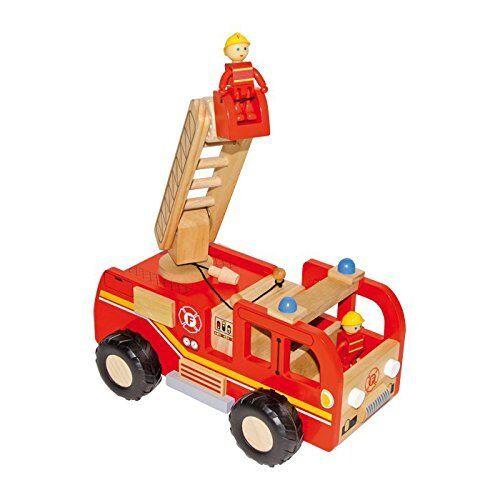 Feuerwehrlaster   Feuerwehrauto aus bunt lackiertem Holz mit stufenweise v