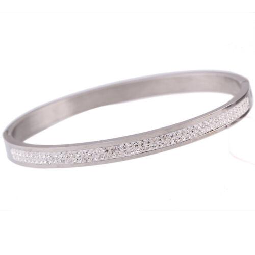 Women Fashion Crystal Rhinestone Pave Stainless Steel Love Bracelets Bangles