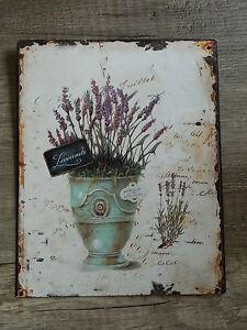 Blechschild-Wandschild-Lavendel-Nostalgie-Antik-Style-20-x-25-cm