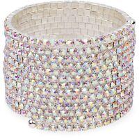 Glam Aurora Borealis Crystal Silver Tone Wire Statement Bracelet Prom Bridal