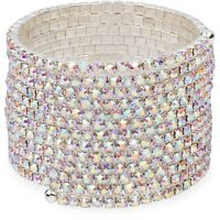Glam Aurora Borealis Crystal Silver Tone Wire Statement Bracelet Prom Bridal