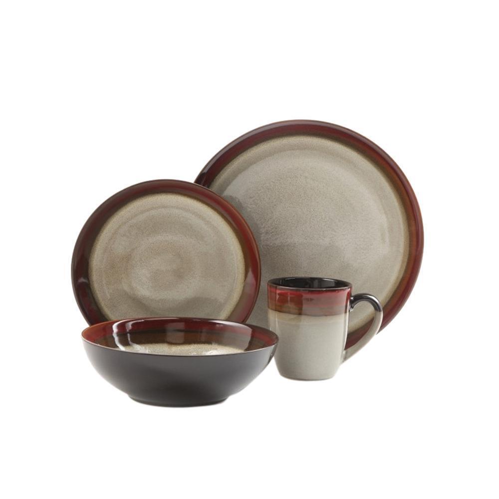 Crème Rouge Dinnerware Set Style Rustique plats 16 Pièces Micro-ondes Safe vaisselle