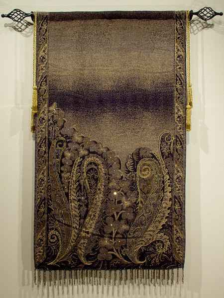 HAND WOVEN TAPESTRY W ROD & BEADED TASSELS  At Dusk , 28 x53