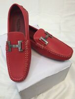 Men Giovanni Dress Shoes Loafer Casual Italian Slip-on Solid Red White Stitch