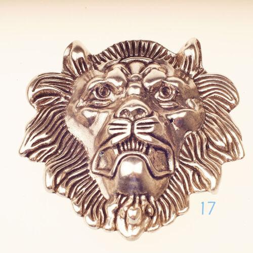 "Quality Desig Solid Brass 925 Silver//Gold lion head Belt Buckle cowboy 40mm 1.5/"""