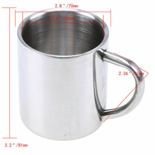 Stainless Steel Mug Double Wall Tumbler with Grip Handle Coffee Cup Drink 230ml