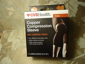d4ec3eadc7 Image is loading cvs-health-copper-compression-sleeve-knee-size-L