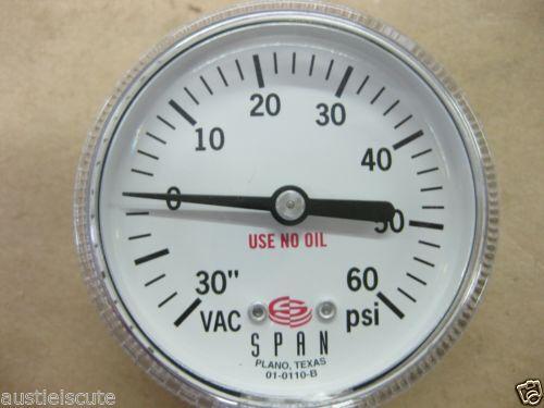60 PSI Pressure Gauge Millipore 01-0110-B Fittings Metal Gasket Span Vacuum