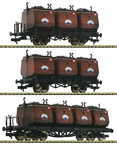 Fleischmann-H0-526506-Kohlekuebelwagen-Set-034-Steinkohle-Syndikat-034-gealtert-NEU-OVP