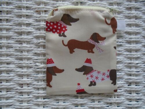 WINTER SAUSAGE DOG PURSE DACHSHUND PURSES COIN WALLET XMAS DOGS GIFT LINED CUTE