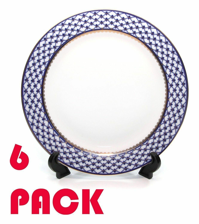 SET of 6 Dinner Plates 10.5  Lomonosov Porcelain - Russian Cobalt bluee Net, 24K