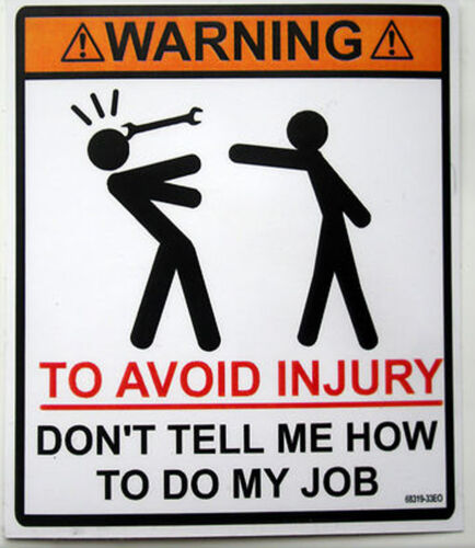 Toolbox spanner on head funny decal warning sticker.