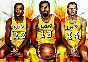 2021 Elgin Baylor Wilt Chamberlain Jerry West Lakers 1/25 Art Print Card By:Q