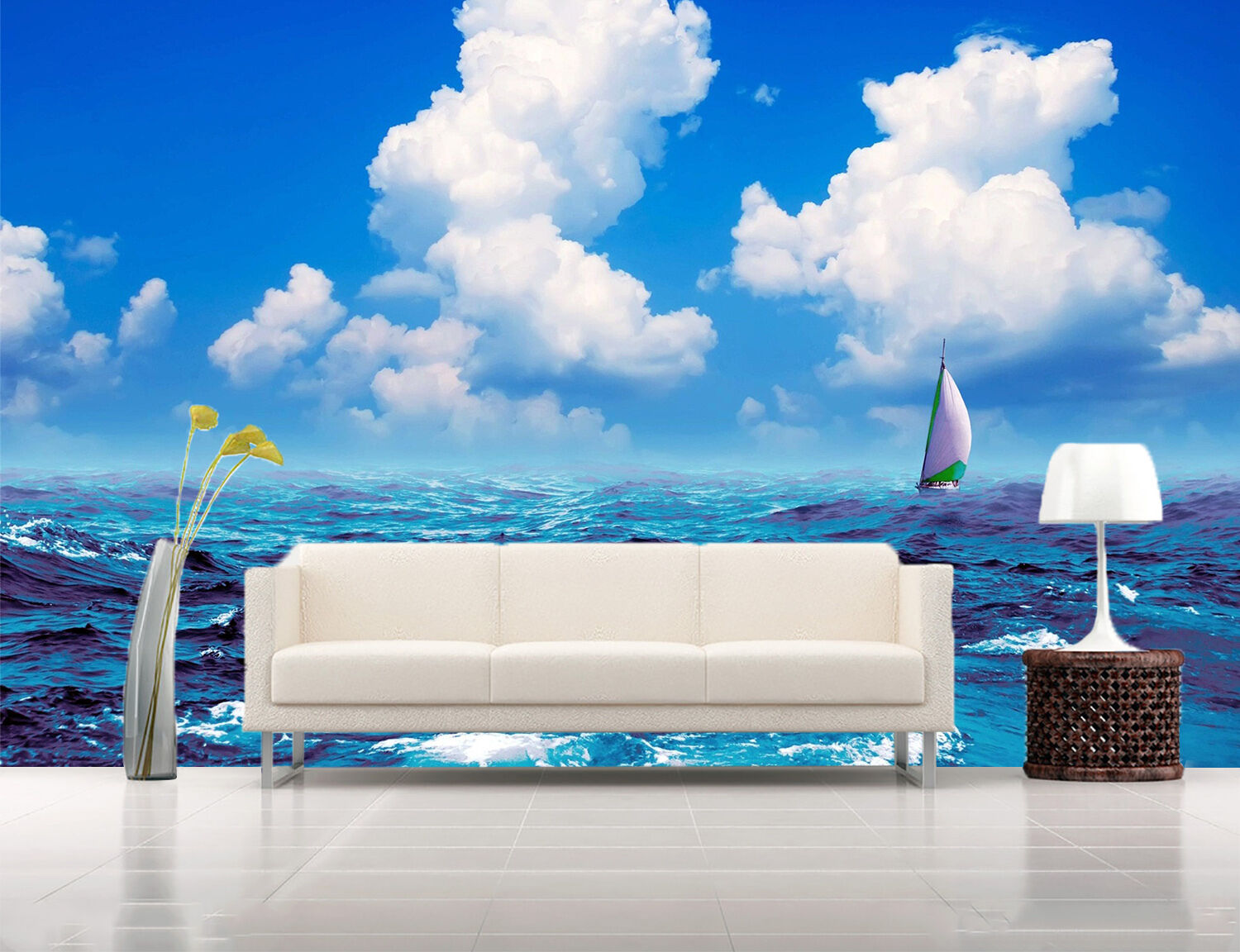 3D ocean sailboat Waves view Wall Paper Print Decal Wall Deco Indoor wall Mural