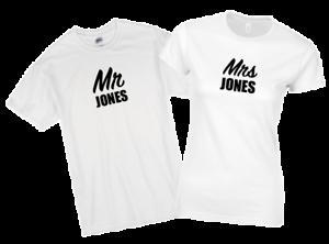 64386172e Personalised Mr & Mrs T-Shirt Set Husband Wife Couple Wedding Gift ...