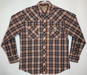Wrangler Mens Size L Brown Blue Silver Western Plaid LS Cowboy Pearl Snap Shirt