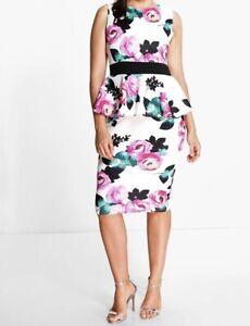 Details about Boohoo Plus Black Multi Color Floral Peplum Midi Dress! Size  18! Party Dress!