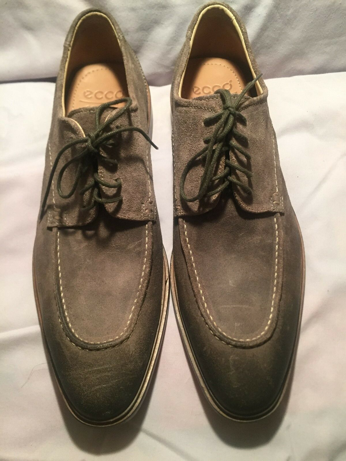 Ecco Mens Leather Lace Ups Euro 45 Slip Resistant Soles Nice shoes