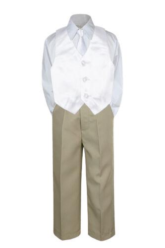 23 Color 4pc Boys Suits Vest Necktie Set Baby Toddler Kid Formal Khaki Pants S-7