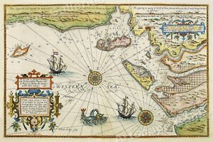 Map Of West Coast Of France.Details About 1605 West Coast Of France Vintage Style Decorative Sea Map 16x24