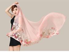 New Floral chiffion design Shawl Scarf Stole Wrap girl big scarves