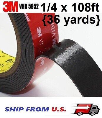"3M 1//4/"" x 7 Yard 21 ft  VHB Double Sided Foam Adhesive Tape 5952 Automotive 0.25"