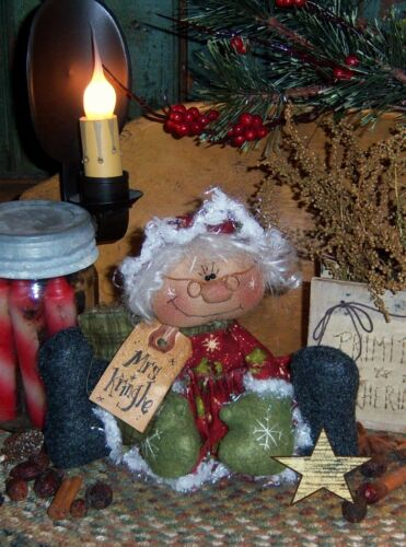 Primitive Mrs Kringle Santa Ornie Doll Paper Pattern #262