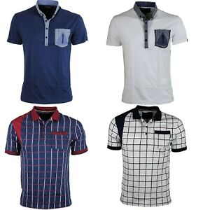 Mens Egan Branded Penge Causal Polo Short Sleeve T-shirts Design Navy White Grey