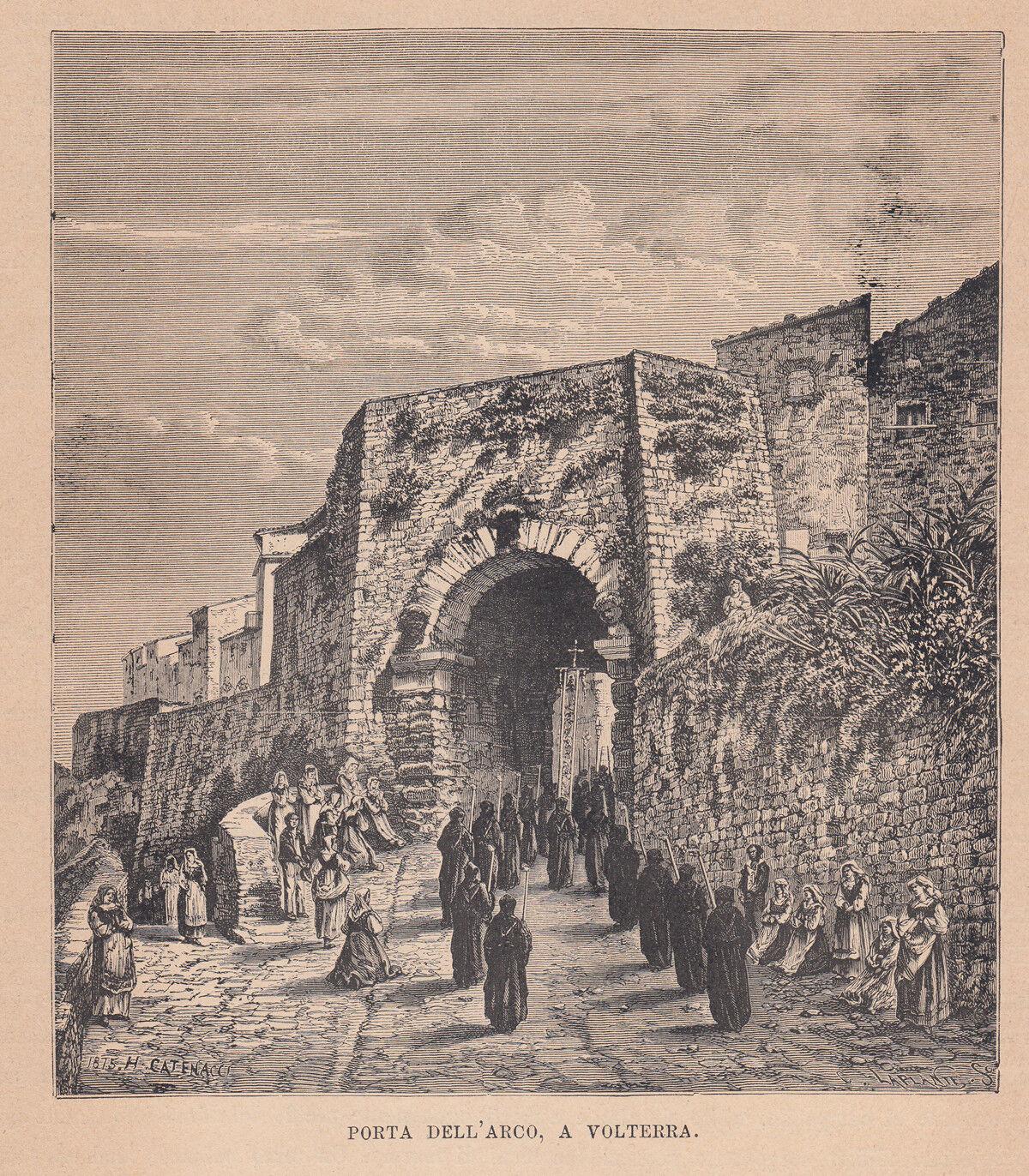 Arco Per Porta dettagli su porta dell'arco a volterra, xilografia, 1875