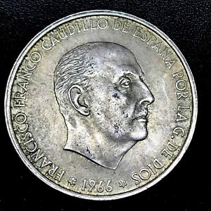 1966-66-Spain-100-Pesetas-KM-797-0-800-Silver-Coin-AU-BU-Great-Condition