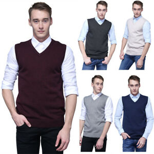 Men-039-s-Sweater-Knitted-Vest-Warm-V-Neck-Sleeveless-Pullover-Tops-Shirt-M-2XL