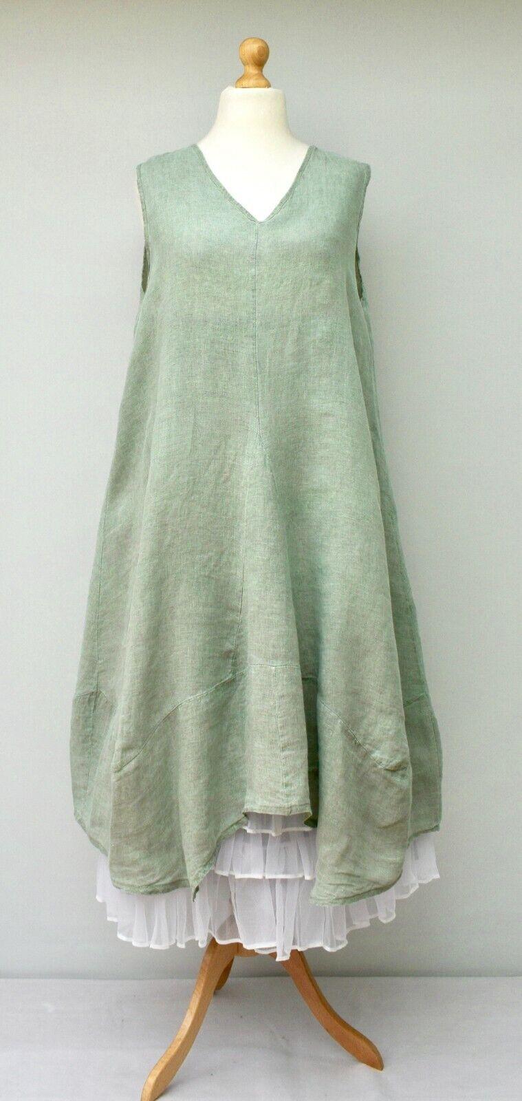 Frau ITALIAN LINEN OVERGrößeD PLAIN A-LINE Lange KleidMINTBUST UP TO 50  ITALY