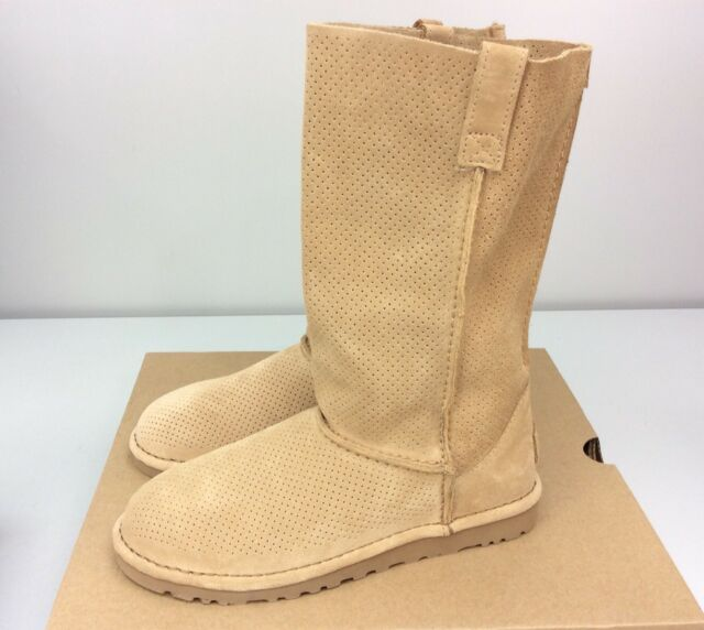 0bb4ccd7016 UGG Australia Classic Unlined Perforated Leather Tall Boot Tawny Tan Size 6
