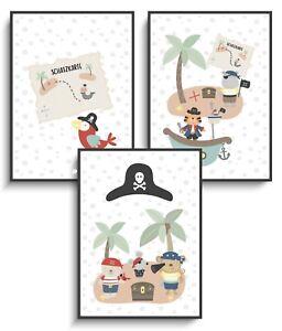 Details zu Kinderzimmer 3er Set Piraten Tiere Deko Poster Wandbild Mädchen  Junge Babyparty