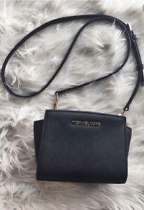 Details about Michael Kors Selma Mini Saffiano Black Leather Crossbody Bag