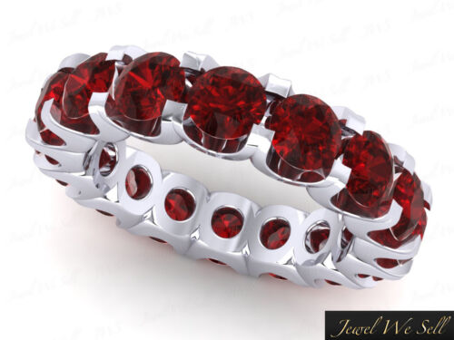 Genuine 6.10Ct Round Ruby Shared UProng Eternity Band Ring 14k White Gold AAAA