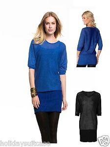 Holidaysuitcase-Mujer-Brillante-Malla-Sexy-Vestido-Tunica-Azul-o-Negro-18-28-Gb