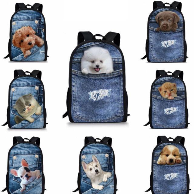 Denim Cute Puppy Kitty School Backpack Boys